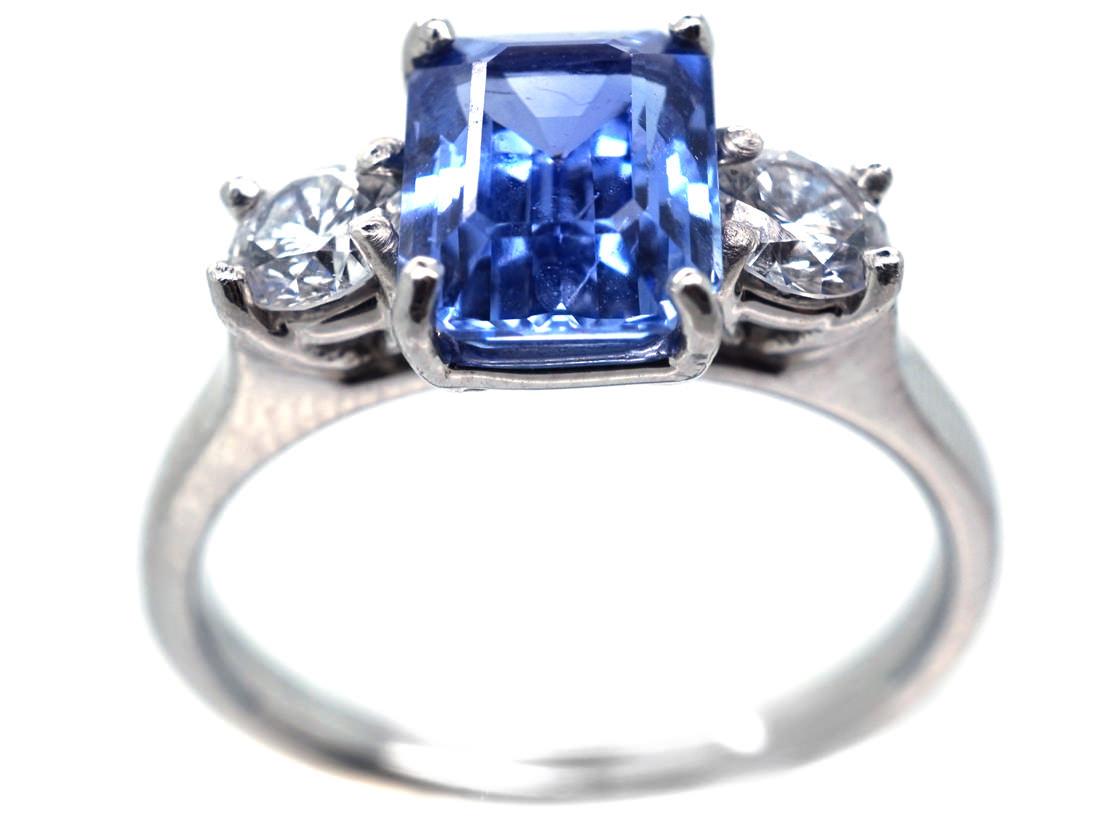 Platinum, Ceylon Sapphire & Diamond Three Stone Ring