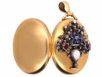 Victorian 18ct Gold Oval Locket With Flowers in a Vase  Motif