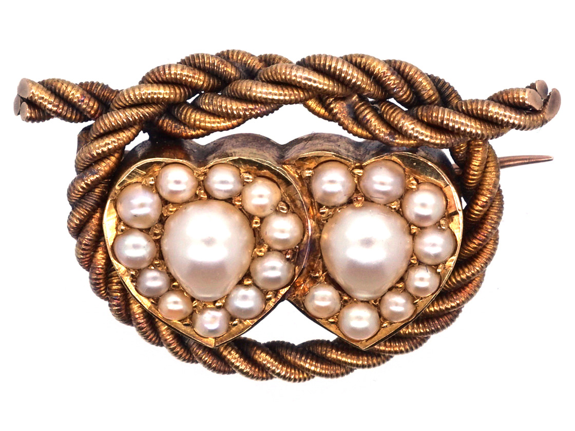 Edwardian 18ct Gold Double Heart Natural Split Pearl Brooch With Lover's Knot