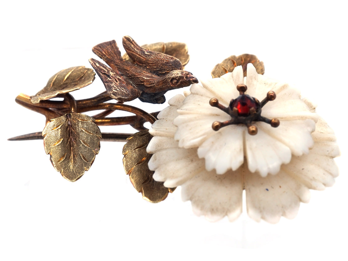 Late Georgian Two Colour 15ct Gold Botanical Brooch With White Coral Flower & Bird