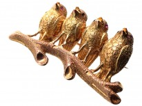 Victorian 18ct Two Colour Gold Four Robins Brooch
