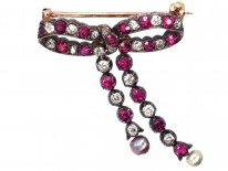 Edwardian Ruby, Natural Pearl & Diamond Bow Brooch