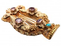 Georgian Two Colour Gold Lyre Brooch Set With Turquoise & Pink Tourmaline