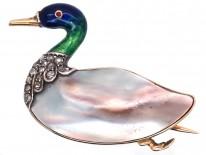 Edwardian Blister Pearl, Enamel & Rose Diamond Duck Brooch