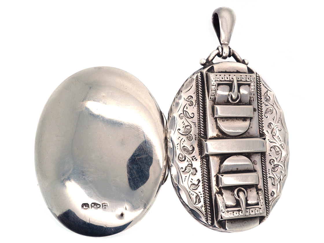 Victorian Silver Double Buckle Oval Locket