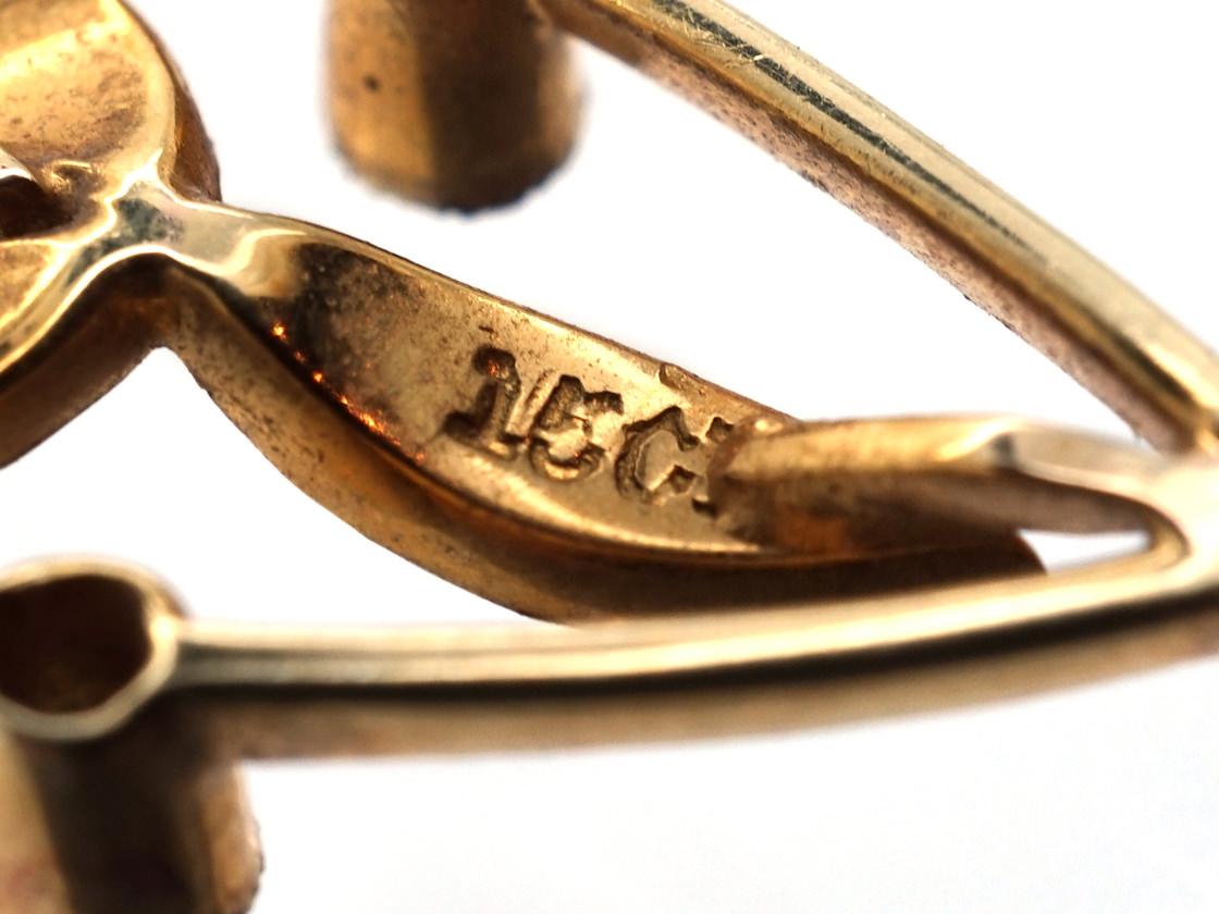 Edwardian 15ct Gold Pendant Set With Diamonds & Natural Split Pearls
