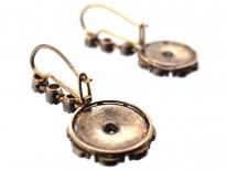 Art Deco Diamond & Enamel Drop Cluster Earrings