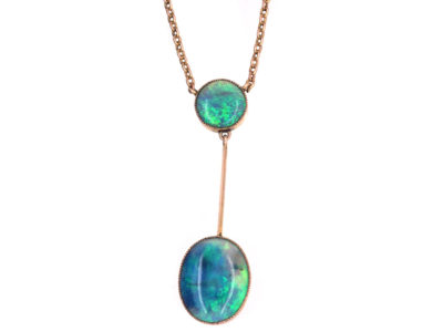 Edwardian 9ct Gold Pendant with Two Black Opal Drops on a 9ct Gold Chain
