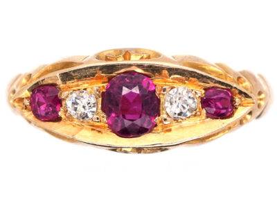 Edwardian 18ct Gold, Ruby and Diamond Boat Shaped Ring