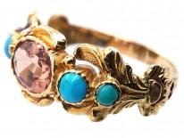 Georgian 18ct Gold Turquoise & Topaz Ring