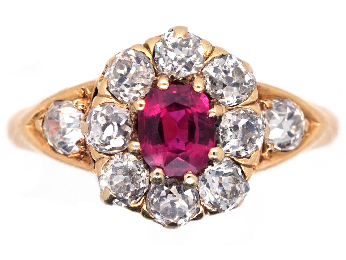 Edwardian 18ct Gold, Ruby & Diamond Cluster Ring With Diamond Shoulders