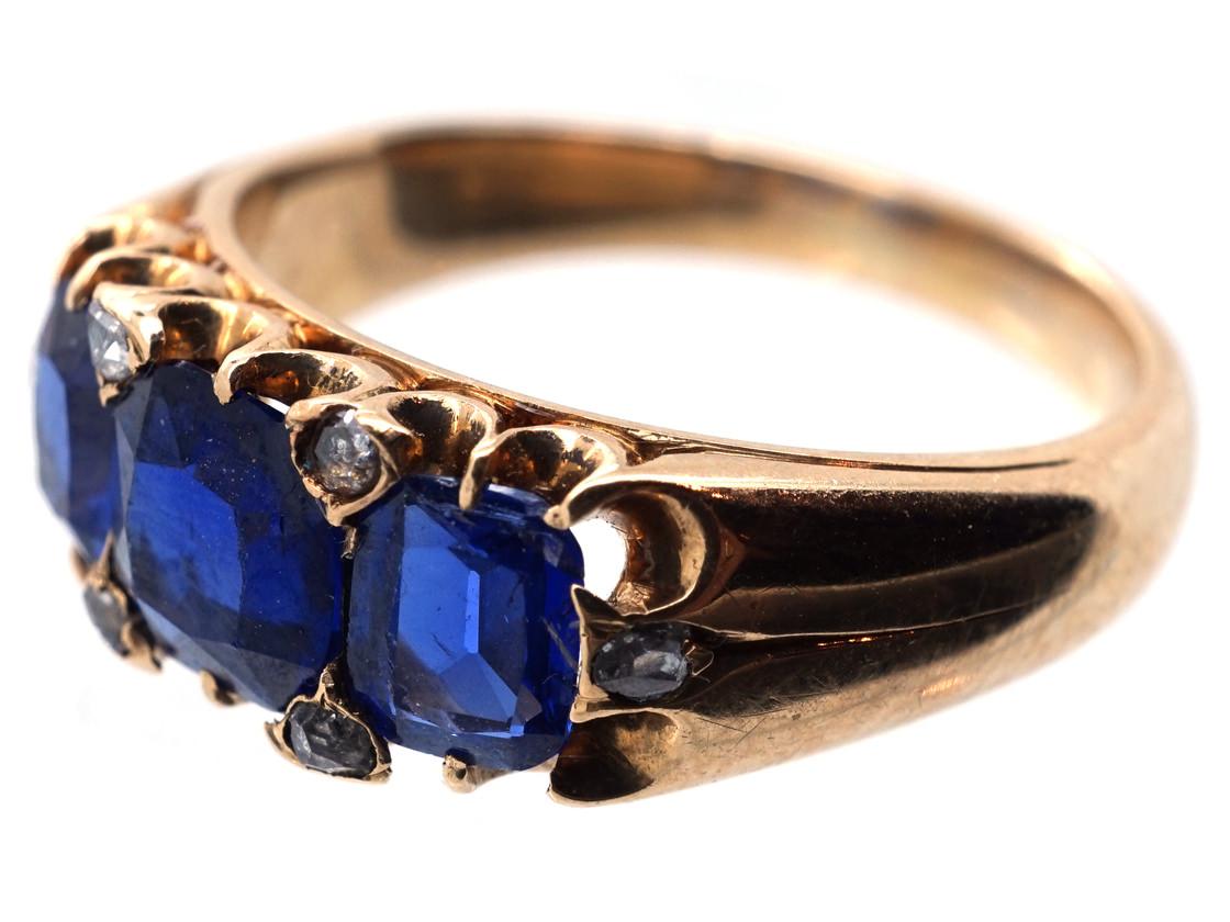 Victorian 18ct Gold, Three Stone Burma Sapphire Ring