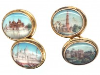 19th Century Indian 18ct Gold Cufflinks With Miniatures