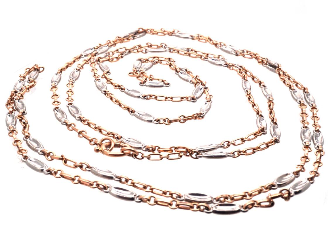 Edwardian 18ct Gold & Platinum Long Guard Chain
