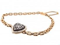 Edwardian 15ct Gold, Enamel & Diamond Heart Bracelet