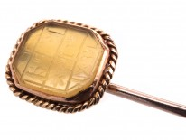 Agate & Gold Tie Pin With Symbols