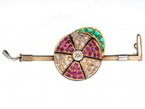 Victorian Emerald, Diamond, Ruby & Enamel Jockey Cap & Whip Brooch