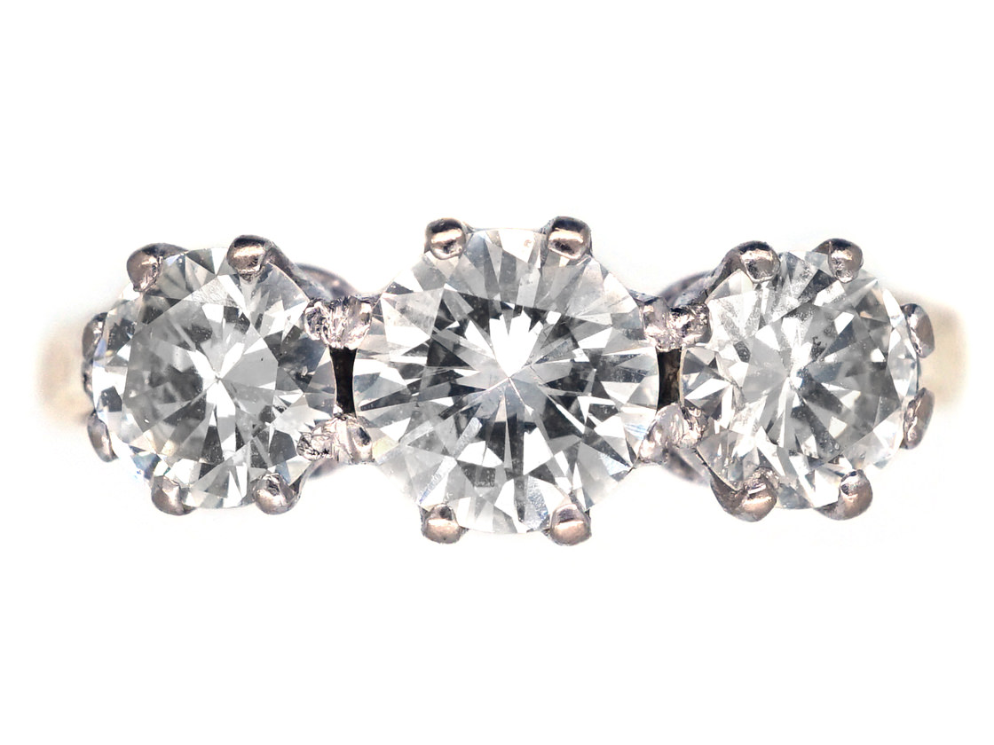 Art Deco 18ct Gold, Three Stone Diamond Ring