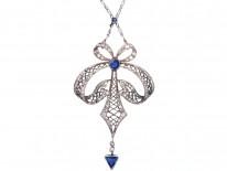 Art Deco Platinum, Sapphire & Diamond Bow Design Pendant on Platinum Chain