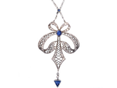 Art Deco Platinum, Sapphire & Diamond Bow Design Pendant on Platinum Chain
