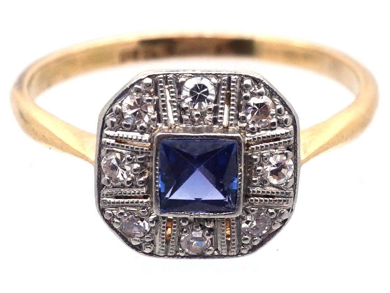 Art Deco 18ct Gold & Platinum, Diamond & Montana Sapphire Octagonal Ring