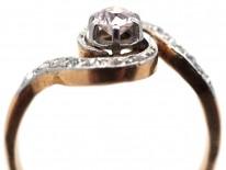 French 18ct Gold & Platinum, Art Nouveau Diamond Swirl Ring
