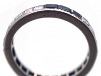 Art Deco Platinum Diamond & Sapphire Eternity Ring