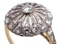 Edwardian 18ct Gold & Platinum, Diamond Starburst Ring