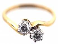 18ct Gold & Diamond Crossover Boodle & Dunthorne Ring