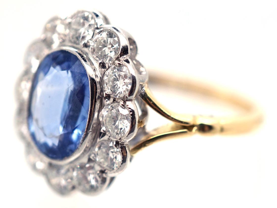 18ct Gold & Platinum, Ceylon Sapphire & Diamond Cluster Ring