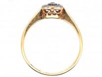 Art Deco 18ct Gold & Platinum Square & Diamond Shaped, Diamond Ring