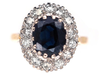 18ct Gold, Sapphire & Diamond Cluster Ring