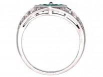 Platinum, Emerald & Diamond, Diamond Shaped Ring