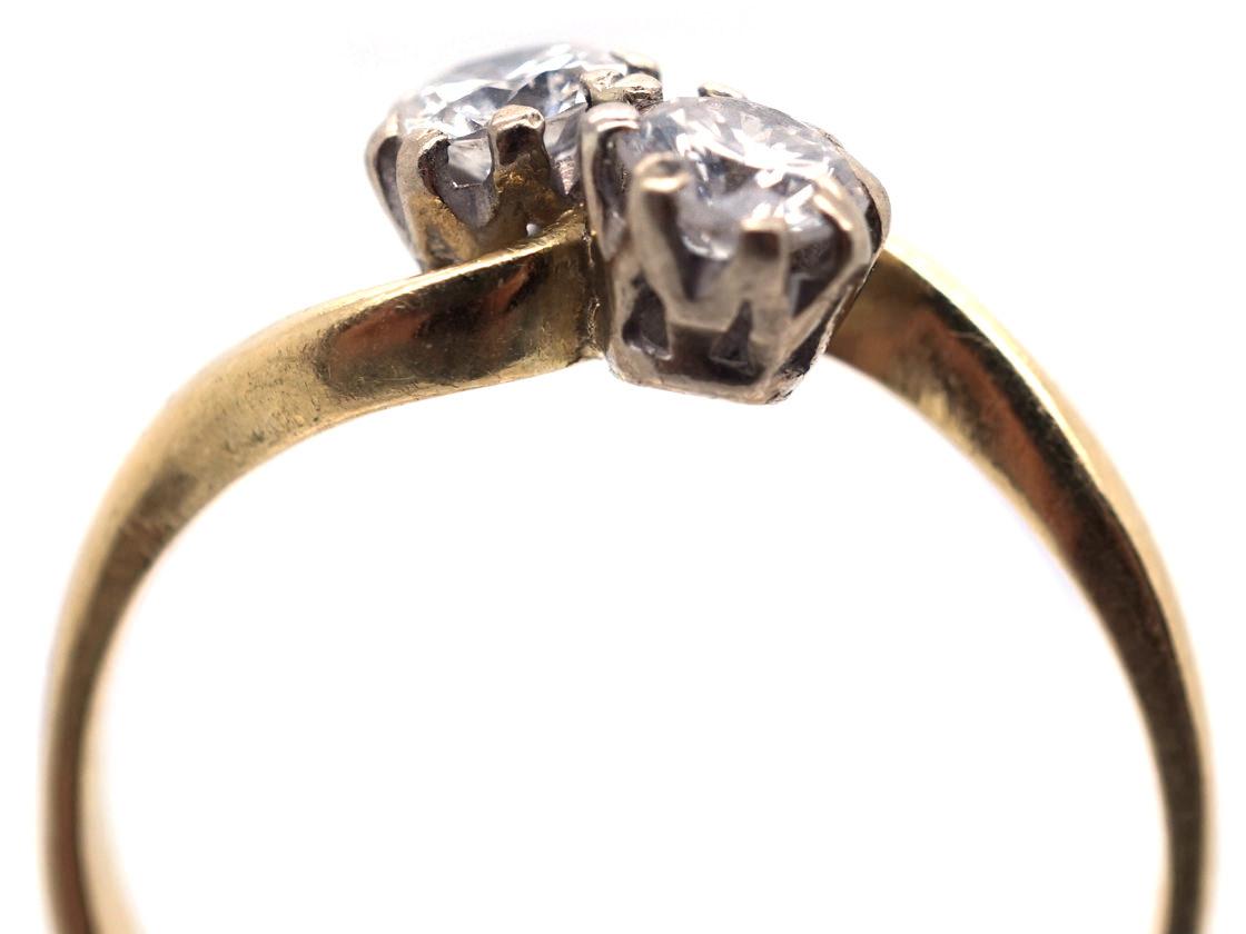 Edwardian 18ct Gold Two Diamond Twist Ring