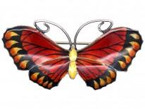 Silver, Brown & Yellow Enamel Butterfly Brooch