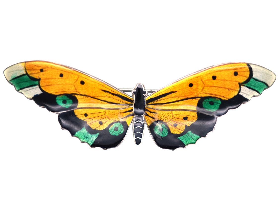 Silver, Yellow & Green Enamel Butterfly Brooch