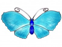 Silver,Turquoise & Dark Blue Enamel, Butterfly Brooch
