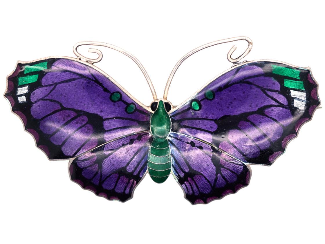 Silver, Purple & Green Enamel Butterfly Brooch