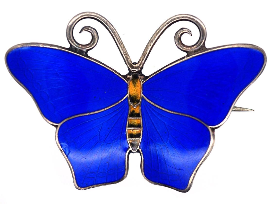 Norwegian Silver & Blue Enamel Butterfly Brooch by Hestenes