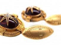 Victorian 18ct Gold Cabochon Garnet & Diamond Star Set Cufflinks