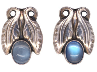 Georg Jensen Silver & Moonstone Clip On Earrings