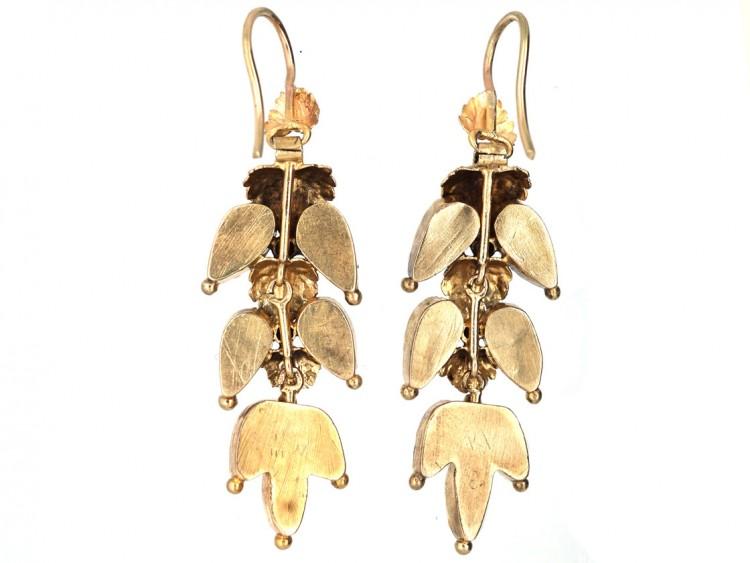 Georgian 15ct Gold & Alamandine Garnet Leaf Drop Earrings