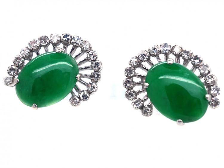 18ct White Gold Jadeite & Diamond Earrings
