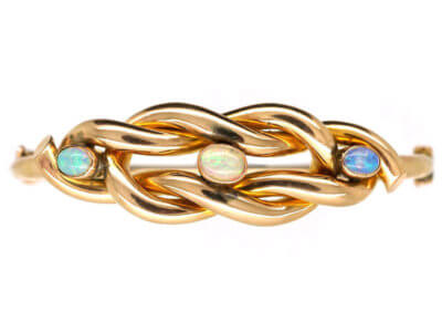 Edwardian 9ct Gold Knot Bracelet Set With Three Opals