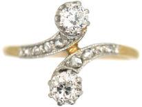 Art Nouveau 18ct Gold & Platinum, Two Stone Diamond Crossover Ring