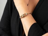 Edwardian 9ct Gold Knot Bracelet Set With Three Opals