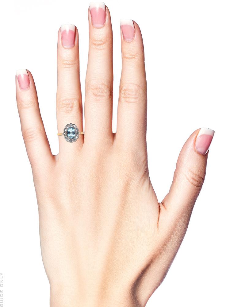 Edwardian 18ct Gold & Platinum, Aquamarine & Diamond Oval Cluster Ring