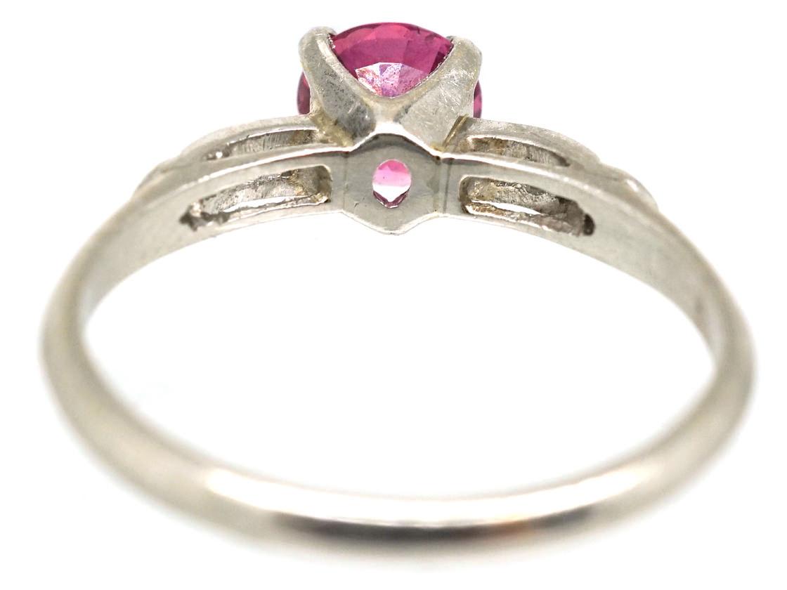 Ruby Solitaire & Diamond Platinum Ring