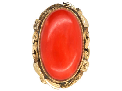 Large Oval 18ct Gold & Coral Ring