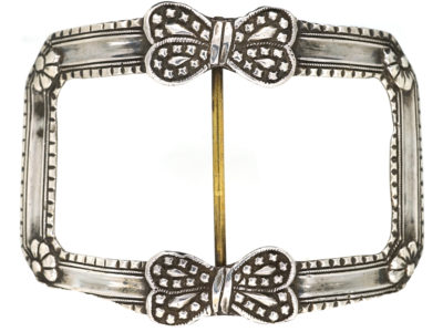 Large 18th Century French Silver Buckle With Bow Design